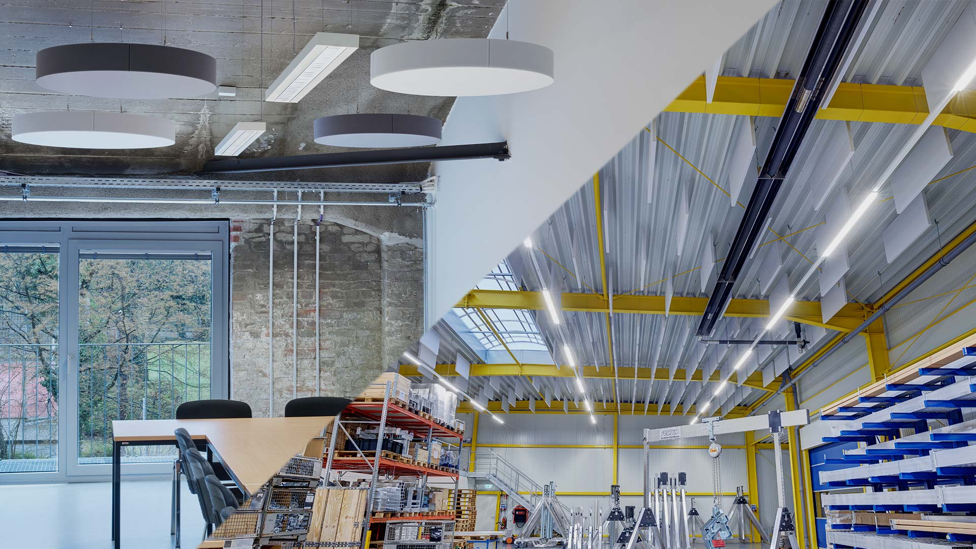 aixFOAM Premium sound absorbers in offices and industrial halls