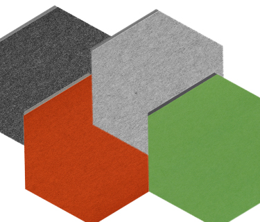 Coloured felt absorber in a hexagonal shape