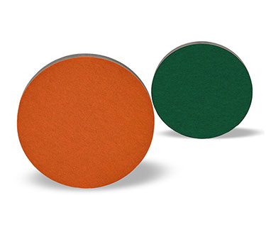 Stacked sound absorbers with felt surface in various colours