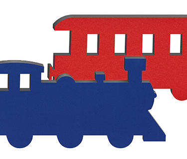Sound absorber motif with felt surface shaped like a train and carriage in various colours