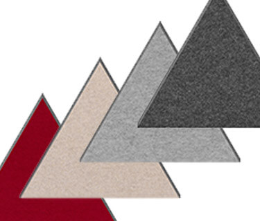 Coloured felt absorber in triangular shape