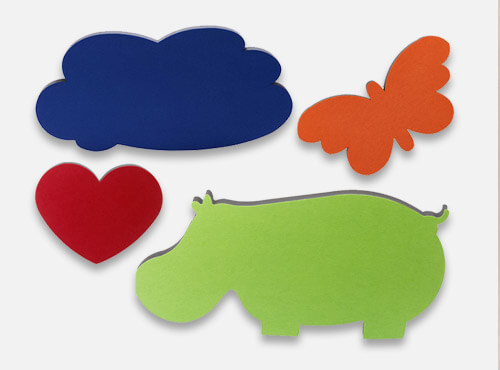 Sound absorbers with the motives hippo, cloud, heart, and butterfly are sound insulation in schools and nurseries.