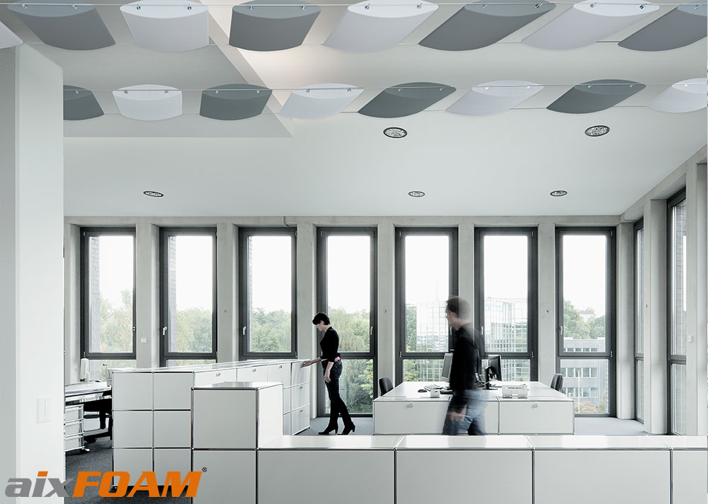 AixFOAM Design Soundproofing Ceiling Panels SH010 Aero With Cable System  Installation
