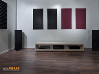 aixFOAM Sound Absorption Panel - SH005 - Trapezoid anthracite/raspberry red with mounting frame