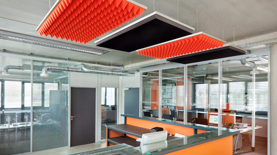 Sound absorbers SH003 and SH006 as sound insulation in the office.