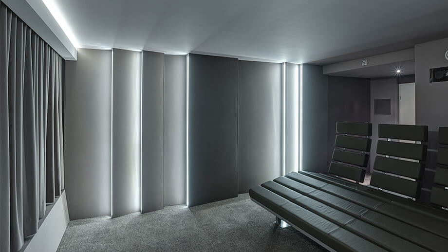 Home cinema sound insulation with SH001 and acoustic fabric as cladding